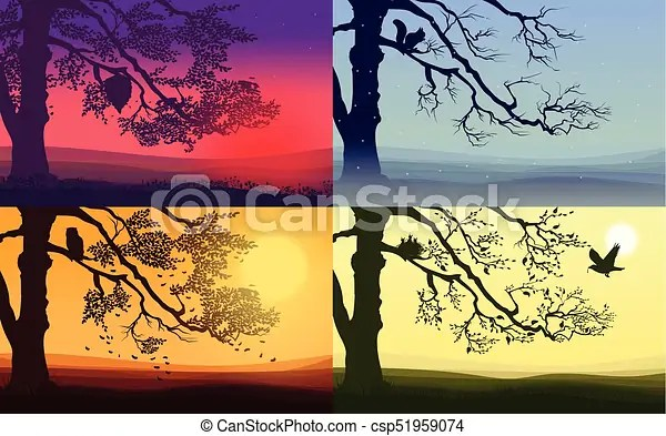 Colorful nature landscapes set Colorful nature landscapes set with