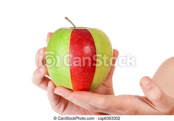 Combination of green apple and red slice Combination of green apple