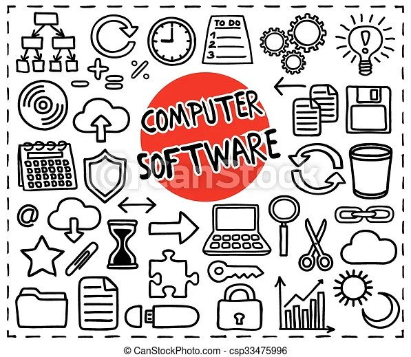 Computer software set freehand doodle icons graphic elements - app - cool copy and paste art