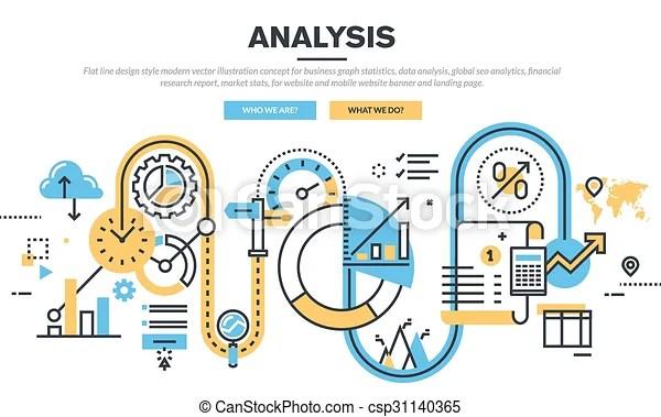 Concept for data analysis Flat line design vector illustration