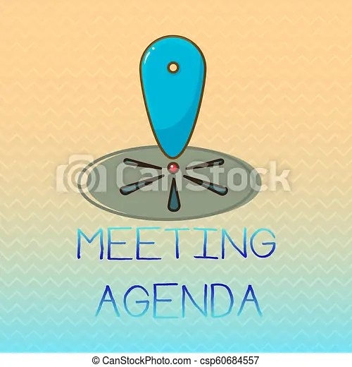 Conceptual hand writing showing meeting agenda business photo