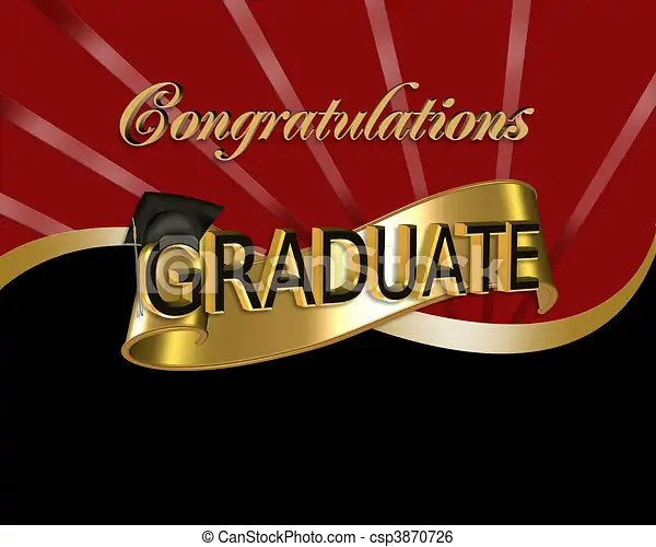 Congratulations graduate graphic Red and black digital art with 3d
