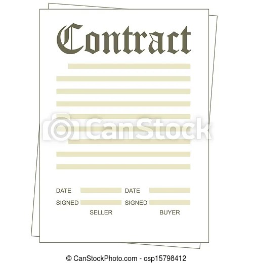Contract Illustration of the paper blank contract form - blank contract template