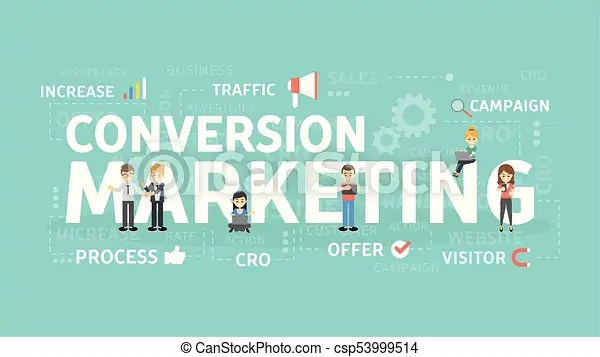 Conversion marketing concept increasing the process of visitors