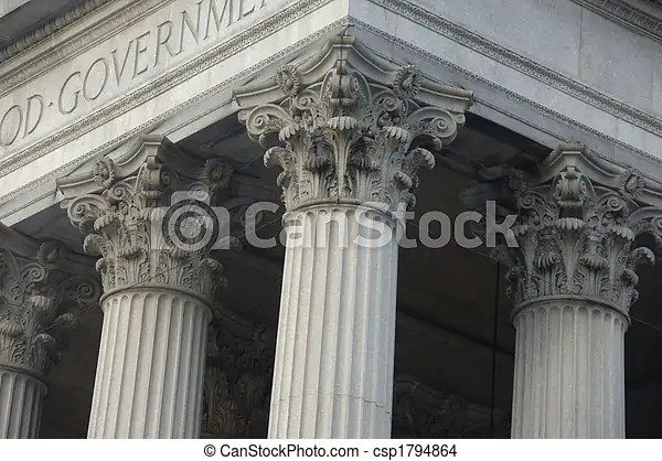Corinthian columns on a government building in new york city stock