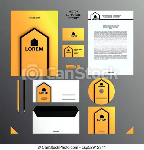 Corporate identity business template yellow and black branding set