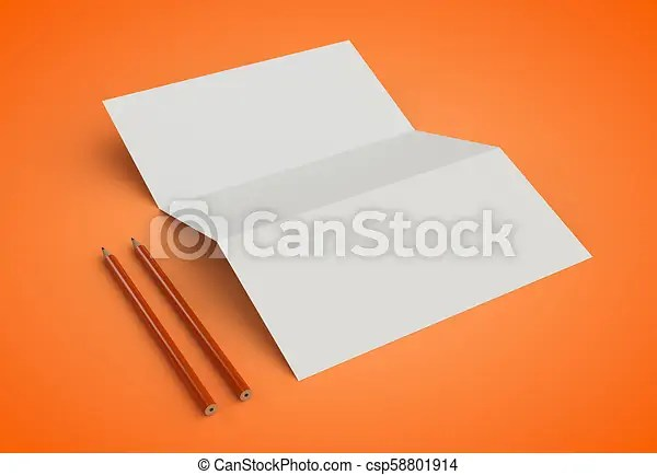 Corporate stationery branding mock-up on orange background 3d