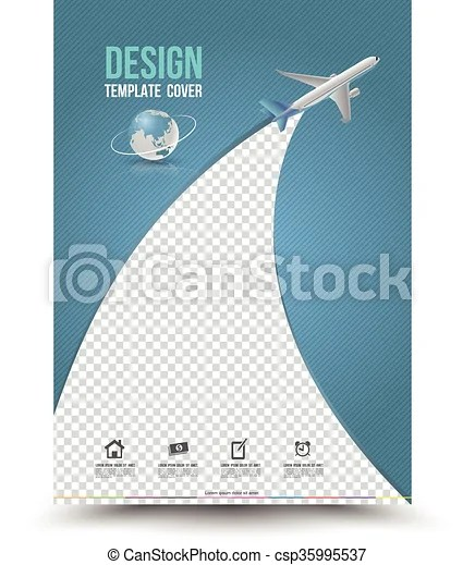 Cover page layout template with paper airplane vector illustration