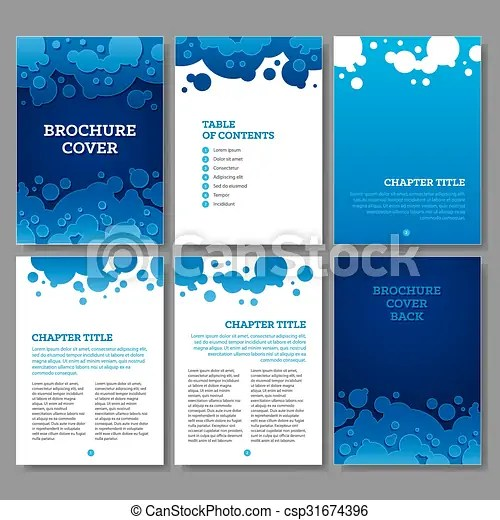 Cover, table of contents and 3 internal pages blue water eps