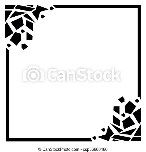 Cracked rectangular frame, black frame on white background black - black border background