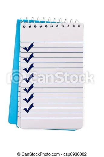 A small notepad with check marks, creating a checklist