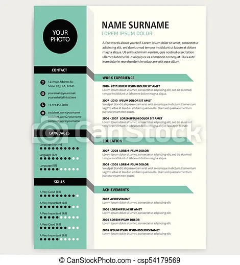 Creative cv / resume template green color minimalist vector clip - minimalist resume template