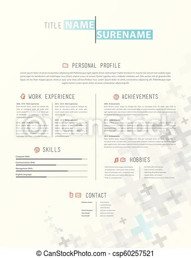 Creative simple cv template with grey plus signs in footer