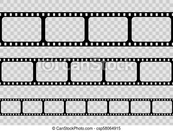 Creative vector illustration of old retro film strip frame set