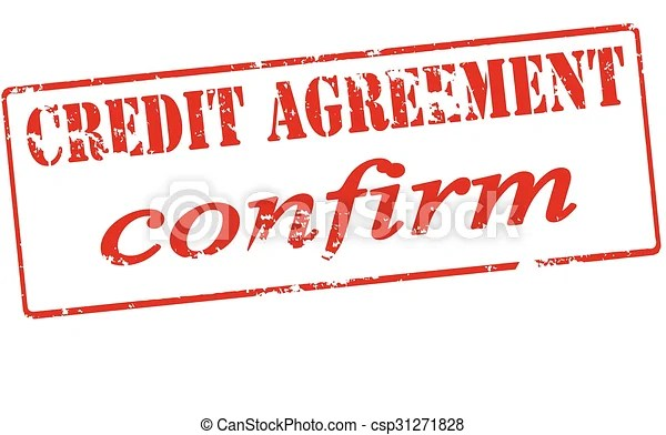 Vector Illustration of Credit agreement confirm - Rubber stamp - credit agreement
