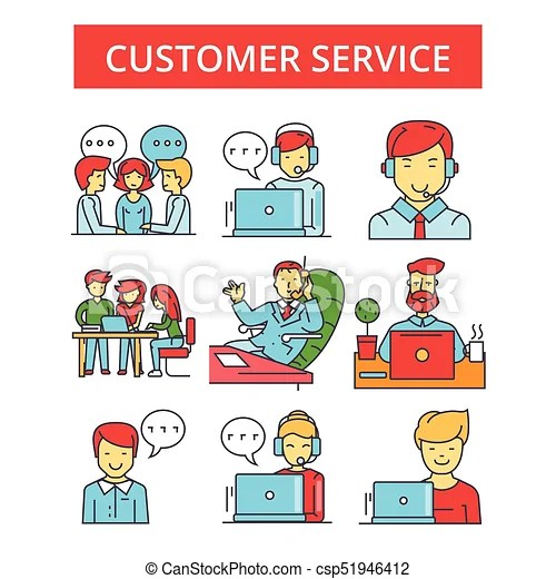Customer service illustration, thin line icons, linear flat signs