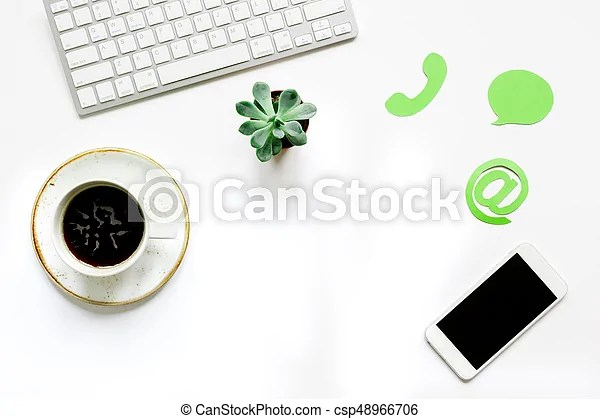 Customer support service desktop with email signs on white stock