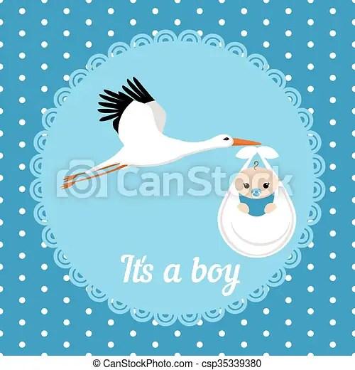 Cute baby boy card Stork carrying a cute baby boy it\u0027s a boy card