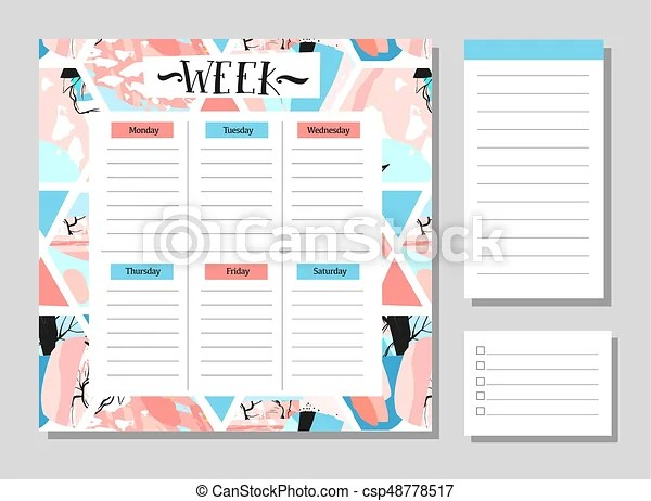 Cute calendar daily and weekly planner template note paper and - calendar daily planner