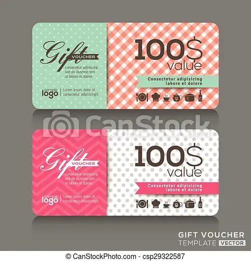 Cute gift voucher certificate coupon design template