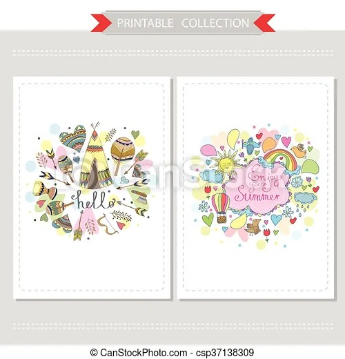 Cute hand drawn doodle postcards Cute hand drawn doodle cards with