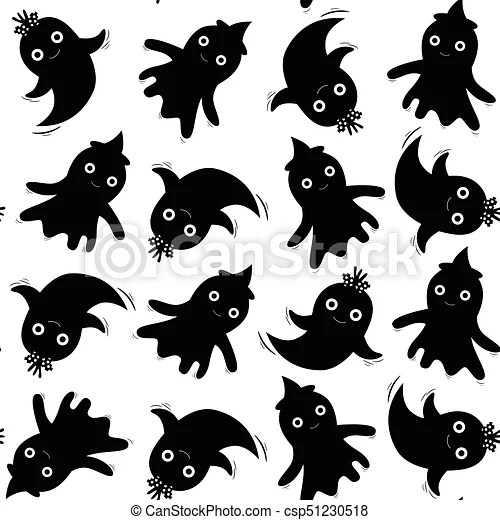 Cute seamless pattern in black with ghosts for halloween designs