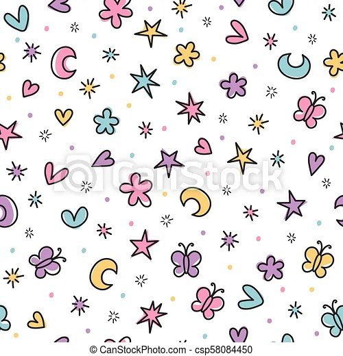 Cute seamless pattern with hand drawn cartoon elements for kids Background  in scandinavian style Great for birthday, fabric, textile, cards