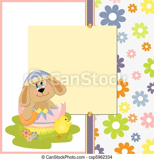 Cute template for easter postcard Cute template for easter