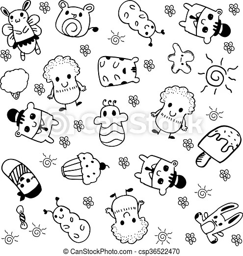 Cute vector doll doodle with black and white backgrounds