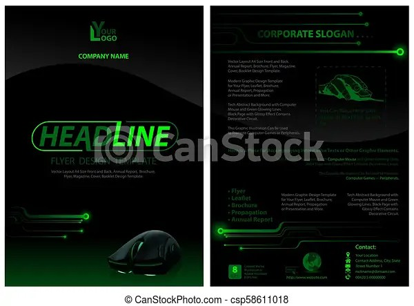 Dark flyer template with computer mouse - black background