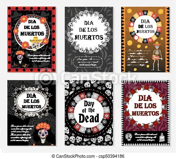 Day of the dead set flyer, poster, invitation with roses, skeleton