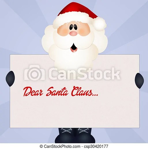 Dear santa claus Illustration of santa claus letter