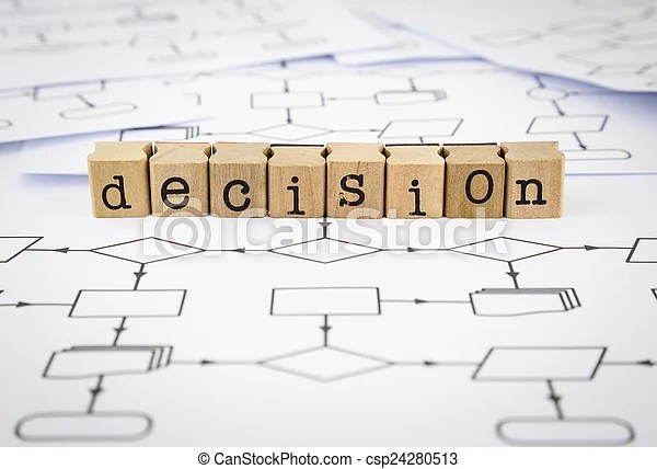 Decision chart word Decision word on rubber wood stamps place on