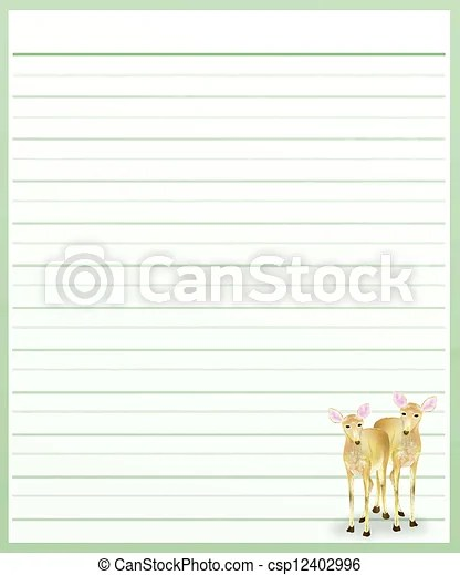 Deers on green color lined paper  Hand drawing of two beautiful - color lined paper