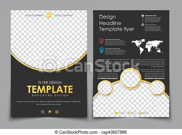 Design 2 pages of a4 black with yellow elements flyer template with - black flyer template