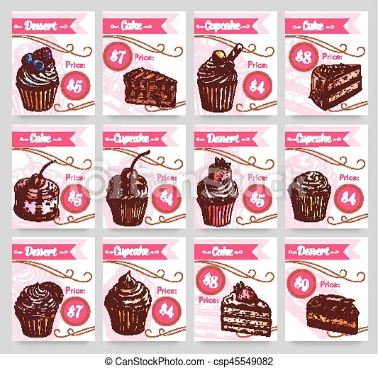 Dessert cakes vector price cards set Pastry desserts price tags for