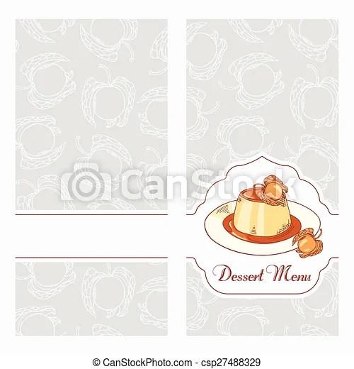 Dessert menu template design for cafe creme caramel on vector