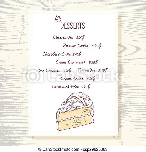 Dessert menu template with sweet vanilla cake in vector doodle