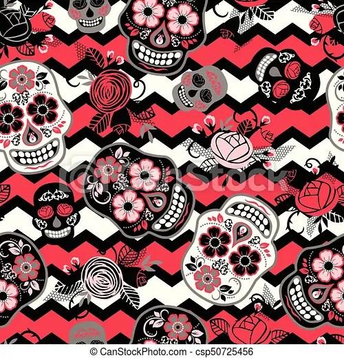 Dia de los muertos day of the dead seamless pattern vector template