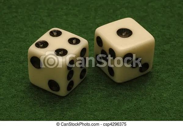 Dice On A Green Felt Gambling Table Horizontal