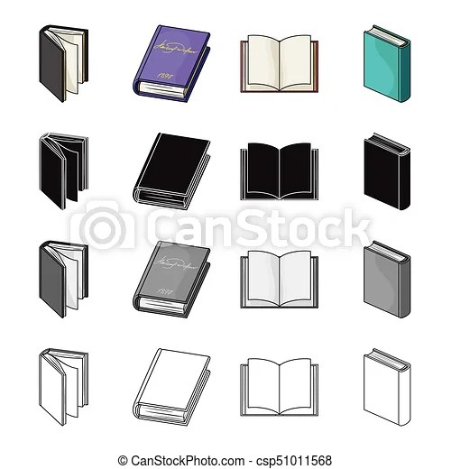 Different types of books, literature, textbook, dictionary book set