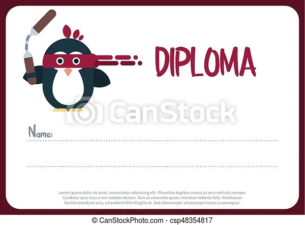 Diploma template with flat penguin character stylized as a ninja - penguin template