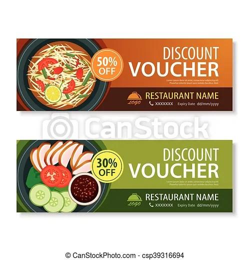 Discount voucher template with thai food flat design eps vectors - food voucher template