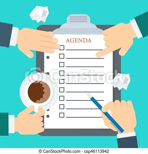 Discussion of agenda Businessmen make up agenda daily routine