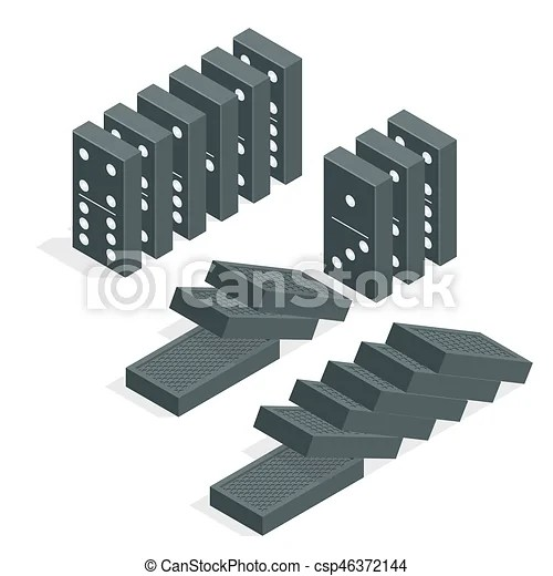 Domino effect full set of black isometric dominoes isolated on