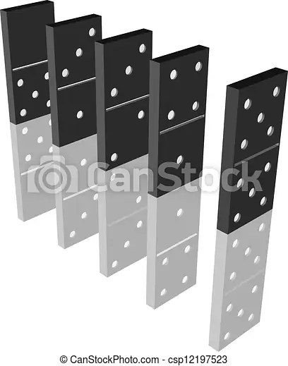 Domino effect 3d model of domino line with reflection