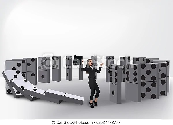 Domino effect Domino effect isolated on white background