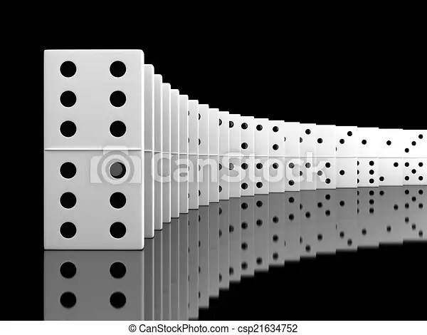 Domino 3d render of white domino blocks over black background