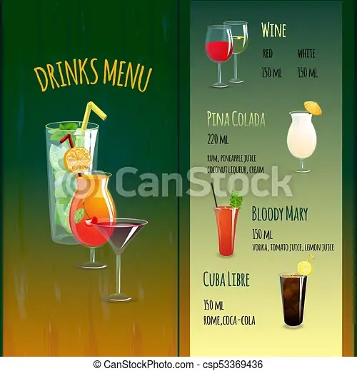 Drinks menu template Summer cocktails bar menu template with drink