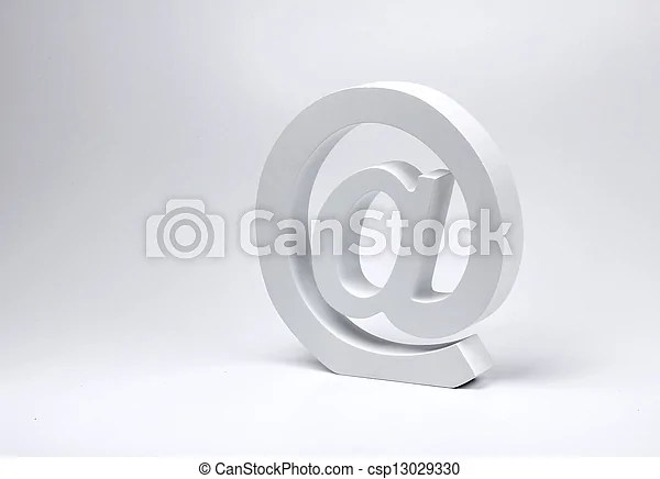 E-mail @ sign block letter symbol Realistic e-mail @ sign block